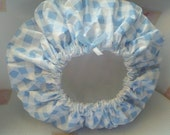 Simple Waterproof Shower Cap Hair Reversible Soft Sky Blue White Squares White Vinyl Lining Ready to Ship
