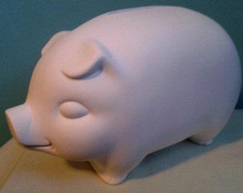 Ready to Paint Ceramic Bisque A Traditional PIGGY BANK - Unpainted Ceramic Bisque - Paint Your Own - U Paint Ceramic Bisque