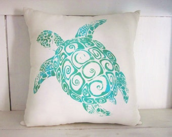 Sea turtles, rustic pillows, ocean decor, sea pillows, turquoise pillows, turtles, nautical pillows, decorative pillows