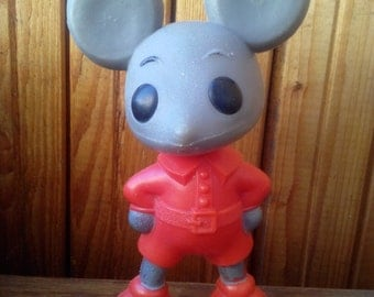 Vintage soviet plastic toy - Mouse, a character children's cartoon. Made in the USSR.