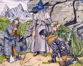 The Hobbit print - Gandalf, Bard, Dain and The Elvenking before the Battle of the Five Armies - Fine Art Tolkien Print