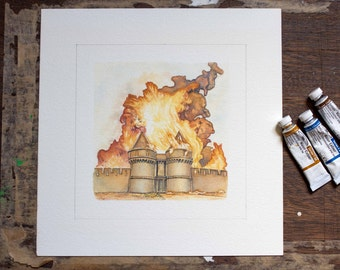 Settlers of Catan art from Cities and Knights - board game - Burning Castle - unique gift for Catan fan