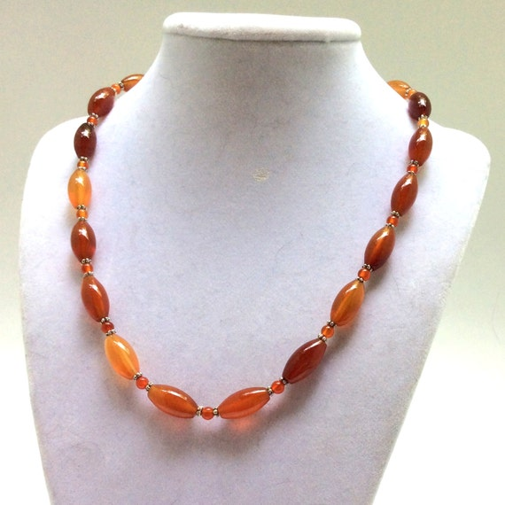 lustrous carnelian orange gemstone necklace shopswell
