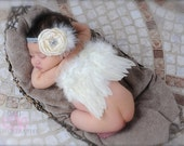 Baby Boy or Girl Ivory Feathered Angel Wings - Perfect Newborn or Maternity Photo Prop