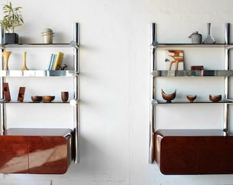 RARE Mid Century Chrome Orba Wall Unit Shelving Designed by Janet Schweitzer For Pace