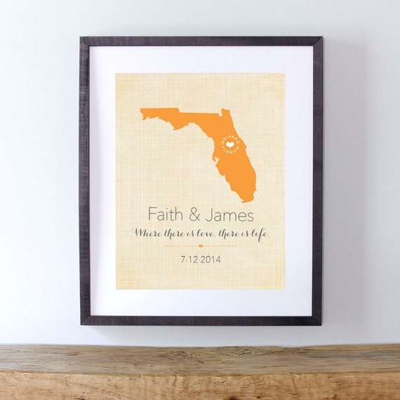 Wedding Gift Idea  -  Modern Wall Decor Wedding Keepsake - Florida or Your Choice of State, Colors, Quote