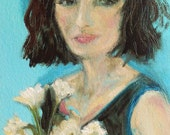 Loulou .. original oil painting 4x6 small paper