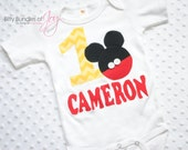 Personalized Chevron Mickey Mouse Birthday Shirt with Real Buttons