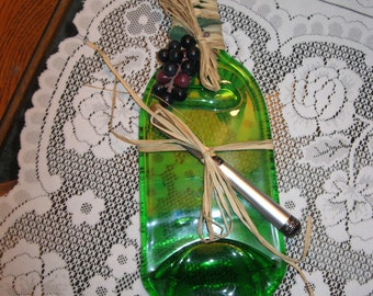 Upcycled Green Wine Bottle Cheese Plate - Item 2-1068