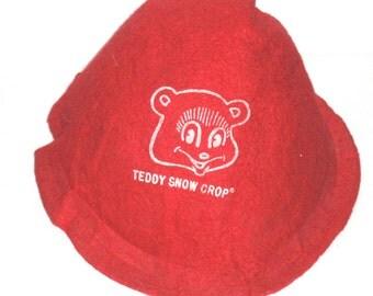 Vintage child's felt hat advertising promo Teddy Snow Crop frozen foods bear logo