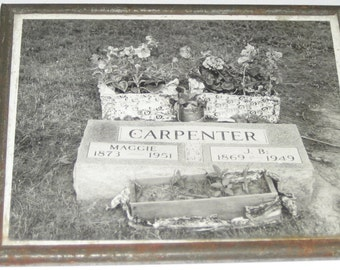 SALE 12.00 Vintage 50s black and white photo of cemetery photograph gravesite