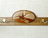 Handcrafted Hummingbird Solid Oak Rack with Wood Inlay and Solid Brass Hooks ~Birthday, Wedding, Christmas Gift
