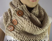 KNITTING PATTERN SCARF - LouLou Scarf Cowl Pattern - Big Scarf Cowl with wooden Buttons