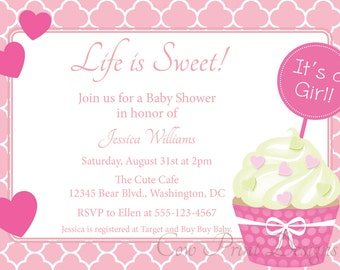 Cupcake Baby Shower Invitation for Boy or Girl DIY Printable