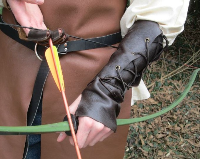 Leather Archery Arm Guard, Medieval Renaissance Glove - Choose Size & Color - RANGER