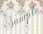 "Dollhouse Miniature Dolls House Wallpaper, ""Bliss"", Scale One Inch"