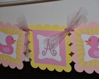 It's a Girl Ducky banner, ducky baby shower, ducky banner, rubber ducky, pink yellow banner
