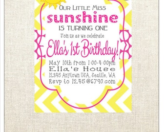 Little Miss Sunshine invitation-PDF-you are my sunshine invitation-sunshine invite-yellow and pink