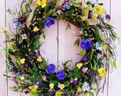 Spring Summer Wreath-Spring Home Decor-Spring Door Wreath-Front Door Wreath-WILD PANSIES in Bloom Floral Berry Door Wreath-Floral Home Decor