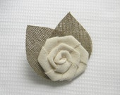 Ivory Flower burlap Boutonniere - Brooch - Medium Size