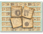 Digital Collage Sheet Download - Postal Stamps 1 inch square -  573   for Jewelry Pendants - Instant Download Printables
