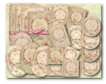 Digital Collage Sheet Download - Floral Frame Paper Kit -  794  - Digital Paper - Instant Download Printables