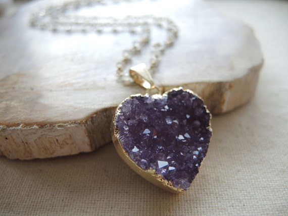 Druzy Necklace ( Jasper Quartz Druzy Heart Pendant & Moonstone Necklace ) Druzy Heart Pendant Necklace June Birthstone Necklace