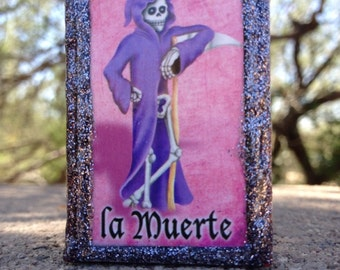 Loteria Day of the Dead Matchbox, La Muerte and La Guadana, Death and Sickle