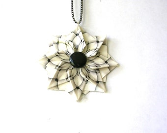 Origami Jewelry - Black White Geometric Jewelry - Statement Necklace - Origami Pendant - Paper Anniversary