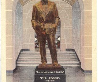 Vintage Linen Postcard...Will Rogers Memorial Statue, Claremore, Oklahoma...Unused...no. 1488