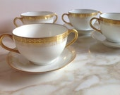 Reserved for MaryKay Haviland Limoges Set of 4 Bouillon Bowls with Under-Plates
