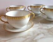 Haviland Limoges Set of 4 Bouillon Bowls with Under-Plates