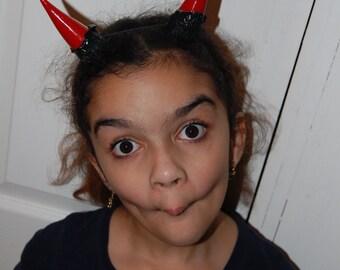 Red and Black demon horns sinister Satyr HORNS festival wear Larp ren fair fetish Voodoo