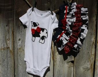 Cow Print Onesie with Denim Ruffle Diaper Cover
