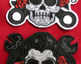 Embroidered Rockabilly Sugar Skull Patch with Roses and Wrenches, Iron On, Sew On, Biker Patch, Day of the Dead, Dia de los Meurtos, Mexico