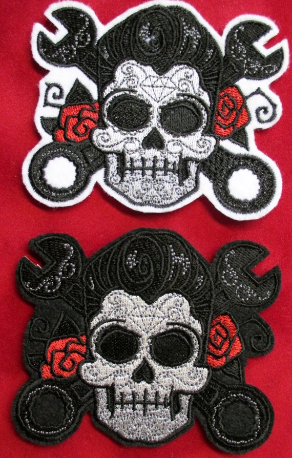 Embroidered Rockabilly Sugar Skull Patch with Roses and