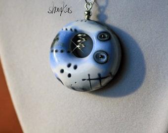 Light Blue Polymer Clay Air Pendant - WEARABLE ART!!