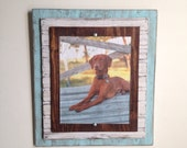 8 x 10 Rustic Distressed Handmade Picture Frame - Robins Egg Blue, White and Natural