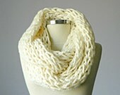 Knitted Cowl Scarf Neck Warmer, Off-White Handmade winter, fall women accessories, chunky infinity cowl