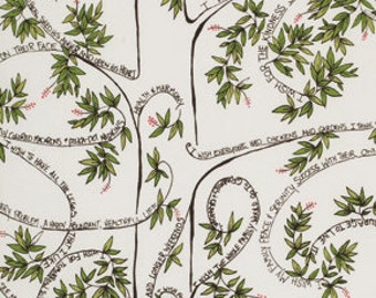 Wish Wishing Tree by Valori Wells - Grey Background - FQ Fat Quarter Yard cotton quilt fabric 516