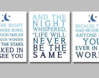 On The Night You Were Born Nursery Wall Print Triptych/ Nursery Decor/ Ombre Print/ For the Baby/ Baby Shower Present/ Wall Print