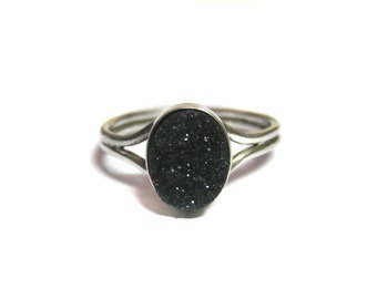 Black Druzy Gemstone ring 925 Sterling Silver hand crafted Ring studded Fine Quality gem stone drusy engagement wedding gift for her druzzy