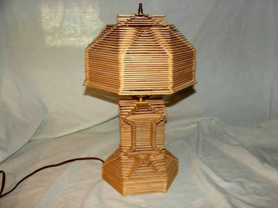 Vintage Popsicle Stick Lamp In Great Condition