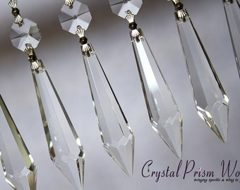 25 Clear Large Udrop Icicle Glass Chandelier Crystals Chrome Bow Ties