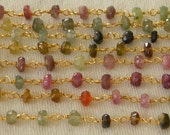 Watermelon Tourmaline Rosary Chain Beads 8 to 18 Inch Gold Vermeil Wire Strand 4mm Semiprecious Faceted Gemstone Take 10% Off Jewelry Supply