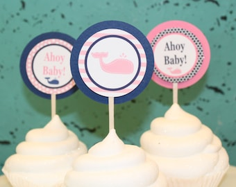 LITTLE WHALE Happy Birthday Party or Baby Shower Cupcake Toppers 12 {One Dozen} Pink Navy - Party Packs Available