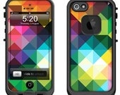 Lifeproof iPhone 6 Fre, LifeProof iPhone 5 5S 5C Fre Nuud, Lifeproof iPhone 4 4S Fre Case Decal Skin Cover - Multi Color Geometric Pattern