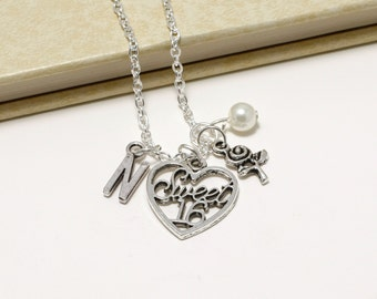 Personalized Sweet 16 Necklace with Your Initial and Birthstone
