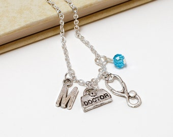 Personalized Doctor Necklace with Your Initial and Birthstone
