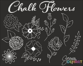 80% OFF Sale Clipart Chalk Doodled Flowers Floral Clip Art Chalkboard Chalk Board  Commercial Use